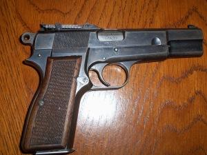 Browning Belgian Hi-Power 9mm stamped for German usage, probably Luftwaffe.