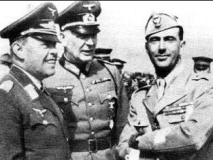 "Field Marshall Albert Kesserling on the left. He was actually an Air Force General. Nicknamed ""Smiling Albert"" by the Allies. He waged a masterful defensive war in Italy."