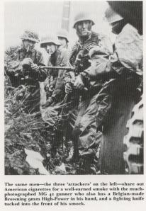 The picture is from a well-known series of Waffen-SS soldiers during the Battle of the Bulge. The one on the right is holding a Hi-Power.