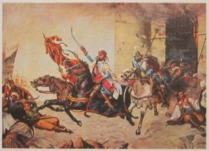 I don't read Croatian but am fairly sure the painting is Zrinyi leading that last epic charge into certain death.