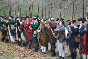 Battle of Lexington, line of militia, reenactment