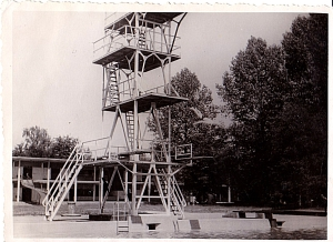 Appears to be a diving tower at some type of resort. I don't recall dad telling me anything about a resort.