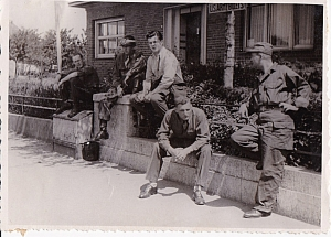 Five of dad's comrades outside of their US Army Billet. Dad said they patrolled three men to a jeep so I speculate that these five plus dad are two crews just off duty?
