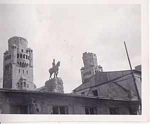"The caption reads, ""Cologne Bridge."" I am uncertain if it's the same destroyed bridge and am uncertain of who the man on the horse is."