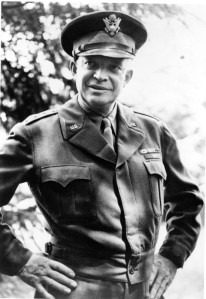 "Gen. Eisenhower and the famous ""Ike"" jacket. My mom wore my dad's Ike jacket well into the 1950's."