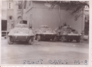 "M-8 ""Greyhound"" Armored Cars. Dad told me the 504th MP BN had a few of them and I found this picture in the batch he had sent home."