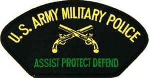 Modern US Army MP banner. The crossed pistols is the symbol of the military police. MP BN size units serve anywhere they are needed including the recent wars in Iraq and Afghanistan.