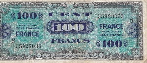 Front of 100 Franc note, dated Dec., 1944