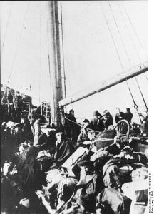 German refugees packed on to one the ships the German Navy scraped together to evacuate civilians and wounded soldiers.
