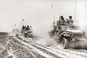 Israeli Mechanized Infantry in the Sinai, June, 1967. The soldiers are mounted in M3 Haltracks of World War Two vintage.