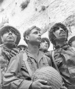 Famous picture of Israeli paratroops at the wailing wall, June, 1967.