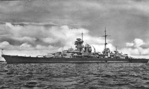 Heavy Cruiser Prinz Eugen gave naval gun support as the Ubena took on board refugees.