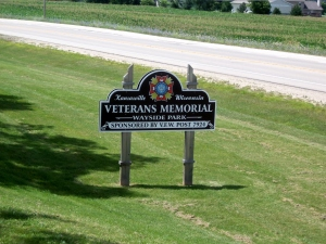 The park is sponsored by the local Veterans of Foreign Wars post. It was dedicated in 1996 and is dedicated to veterans from the WW1 era to 1996.