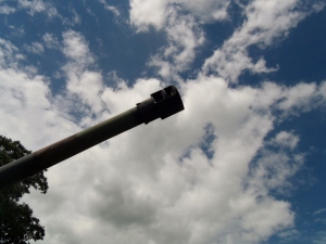 The muzzle break of the howitzer. One round weighed a massive 200 lbs!