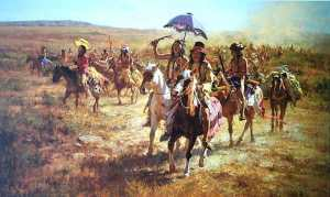 "Weighed down by horses and other loot the Comanches led by Buffalo Hump made their way back to Comancheria. The name ""Buffalo Hump"" does not refer to the hump of a buffalo but has a sexual connotation. White sensibilites of the time would not report how the chief really got his name."