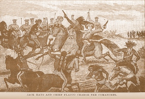 Jack Hays is one of the most famous Texas Rangers. In this contemporary drawing he is leading a charge with a Tonkawa ally, Chief Flaco. The Tonkawa's were historical enemies of the Comanches and served as scouts and warriors both to the Texas Rangers and later with the US Army. The Tonkawas were as brutal as the Comanches and were cannibals to boot.