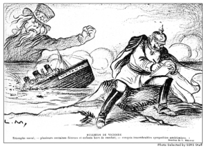 French cartoon illustrating America's anger at Germany for sinking the Lusitania. The sinking of the Lusitania and the Zimmermann telegram turned an isolationist America against Germany.