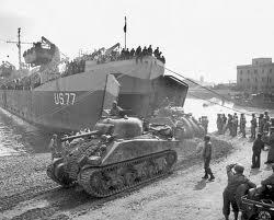 LST unloading Sherman tanks