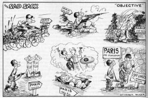 "I have the issue with the Sad Sack cartoon. Sad Sack was classic. Here the poor Sad Sack fights his way into Paris only to find it ""off limits"" to lowly foot slogger."
