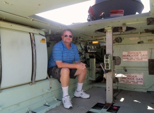 Me sitting in the interior of one of the M113s. It's basically an armored box and was cramped. Like the halftracks from WW2 these vehicles were not really intended to be fought from unless resitance was very light. They were used to transport troops to a point relatively close to the battle protecting them from light shellfire and small arms.