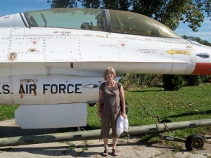 I am not great in being able to id Cold War era aircraft (with some exceptions). Many of the exhibits lack identification plaques making id challenging. Here's my wife standing in front of what I think is a T-38 Talon.