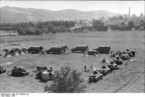 Interesting photo showing the panzer battalion of the 7th SS Division, Prinz Eugen, a mountain division. Most of the German formations fighting the partisan war were under strength and oddly equipped. The tanks in the picture are French taken from France in 1940 and issued to second line formations. Another interesting point about this division is that it consisted of ethnic Germans who came mostly from the Balkans rather than Germany.