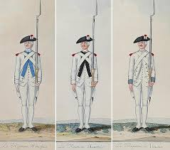 The French Regiments at Yorktown were dressed in white uniforms.