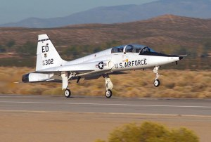 The other picture I took of the aircraft my wife is standing by did not turn out. But this is a T-38 Talon from another website.  The Talon has been in service for 50 years and is used as a trainer. http://en.wikipedia.org/wiki/Northrop_T-38_Talon