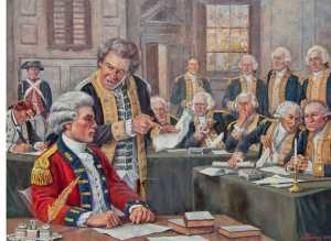 The trial of Major Andre. Washington offered to exchange Andre for the traitor Benedict Arnold but British General Clinton could not or would not do so even though he was fond of Andre. Andre on the other hand impressed the Continental officers with his bravery and honesty. He courageously faced the gallows that Arnold should have faced. Without the exchange Andre never had a chance laregly because the British hanged Nathan Hale some years before.