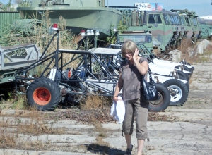 My wife advancing beyond the dune buggies. I think she's talking to the Navy about them.
