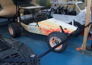 One of the dune buggies indoors. They were marked US Navy.