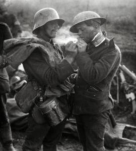 Iconic picture from WW1. A German POW gives a British Tommy a light. Cigarettes were important to most soldiers in both wars. My dad told me he learned to smoke in the army in 1945. It would hasten his death. He could never quit for long.
