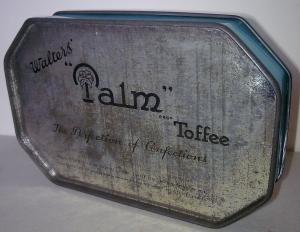 Palm Toffee tin, perhaps wartime. Each candy was wrapped in a palm tree wrapper.