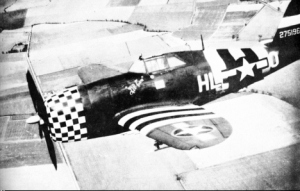 "P-47 Thunderbolt, nicknamed ""the jug"" with invasion recognition markings so their own side would not shoot them down! The Germans called the fighter bombers ""jabos."""