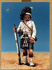 Model figure of a Gordon Highlander during the Indian Mutiny. The traditional red tunic has been done away with due to the heat in India.