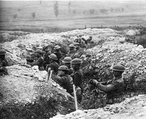 Trench line N. France, 1918. The soldiers appear to be American. http://apps.carleton.edu/events/wwi/exhibition/photos/?image_id=446138