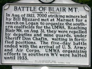 Plaque commemorating the battle in a mostly forgotten coal war.