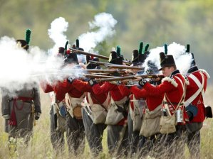 The British Army in Canada during the War of 1812 looked exactly like the regiments that faced Napoleon's Army in Spain. This picture of reenactors shows a British Light Company firing a volley. The green cockade on the shako shows them to be the light company of a royal regiment. British regiments had different colored facings. Blue designated a royal regiment, possibly the 1st Royal Scots which were at the Battle of the Chippewa.