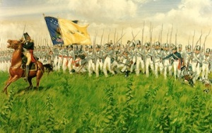 American Regulars in the War of 1812 were clothed like their British counterparts except that their coats were blue. Blue coats were not available for Winfield Scott's brigade so they wore grey at the Battle of the Chippewa. This is why West Point Cadets dress in grey.