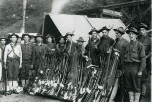 Appears to be Regular Infantry with a stack of surrendered arms. The pic came from a living history website:http://www.leehalldepot.org/en-us/calendarofevents.aspx