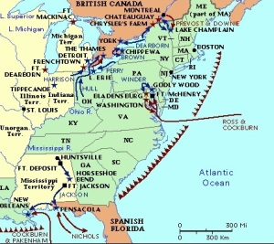Theater of operations, War of 1812. The Battle of Chippewa was in new York and can be seen on the map. http://www.historyguy.com/war_of_1812_links.html#.UvK9ZbSKKHM