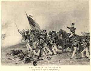 Print of the US Regulars at the Battle of the Chippewa. There are at least two inaccuracies. The uniform of the Americans is post War of 1812. The second is the dress of the British casualties in Highland dress. Although the 1st Royal Scots were there they did not wear the the uniform of a Highland Regiment. They were dressed in the uniform of the line regiments of the British Army.