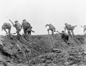 "British soldiers ""go over the top."" All sides lost millions of young men in fruitless charges like this across no-man's-land. It was enough to turn almost anyone into a pacifist."
