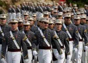 West Point Cadets in their Dress Gray Uniforms.