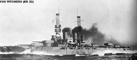 USS Wyoming BB32 a dreadnought-served with the British Grand Fleet during WW1