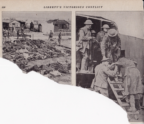 On the left is carnage. Soldiers waiting for treatment, evacuation or in some cases waiting to die. On the right note the fellow with the heavily bandaged face. Horrors of war.