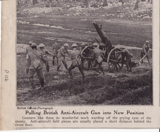 WW1 saw the first widespread use of airplanes as well as the counter measures against them. I was unable to ID the type of gun used in the AA role in this picture.