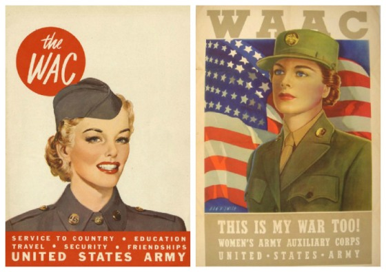 Two examples of recruiting posters for the WACs. http://envisioningtheamericandream.com/2013/02/07/rosie-the-riveter-goes-to-war/