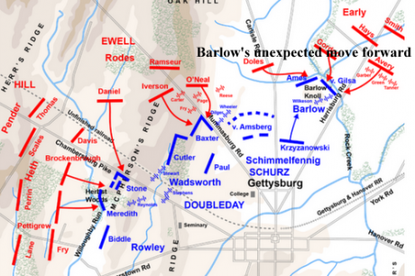 "The position of the ""German"" Corps at Gettysburg."