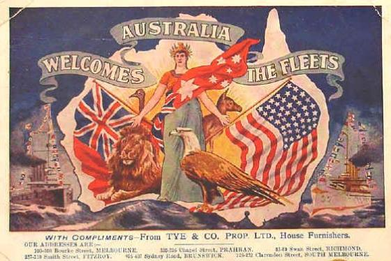Colorful postcard featuring Australia welcoming the Great White Fleet.